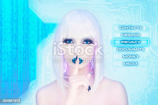 510584002istockphoto Sexy female virtual assistant keeping the secret 534887613