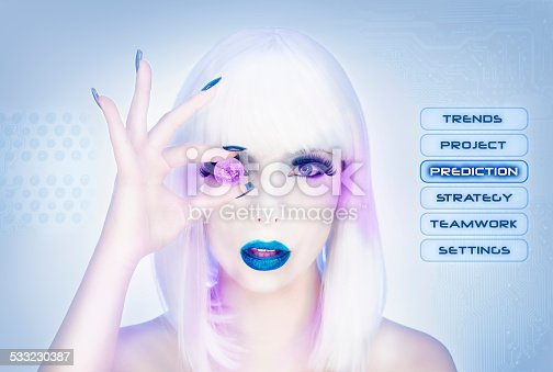 istock Sexy female virtual assistant trying to see the future 533230387
