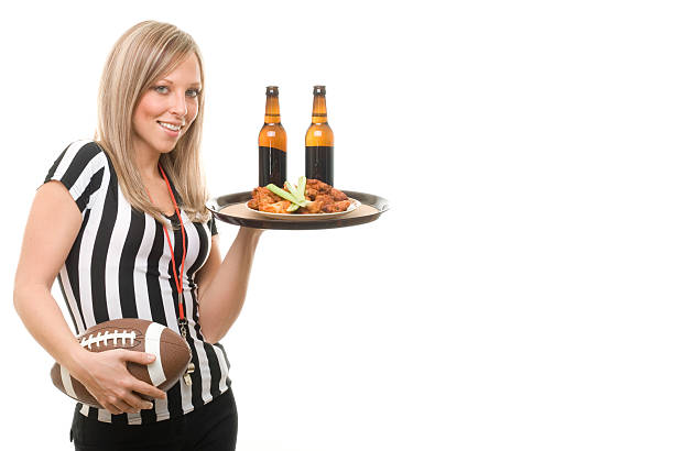 Sexy Football Referee Waitress stock photo