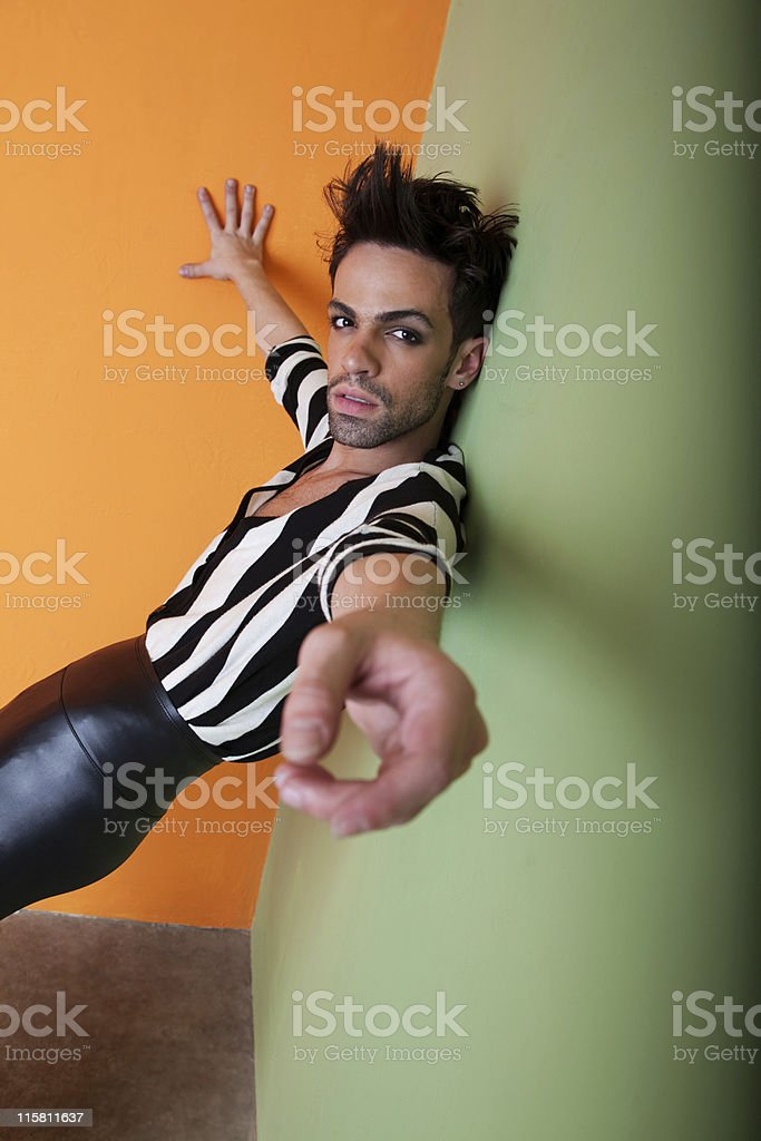 Sexy gay man wears black and white stock photo