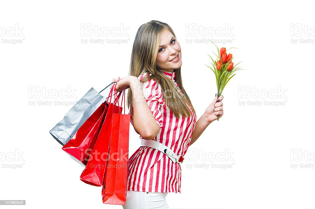 Sexy girl after shopping royalty-free stock photo
