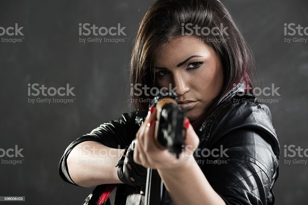 Sexy Girl Aiming stock photo