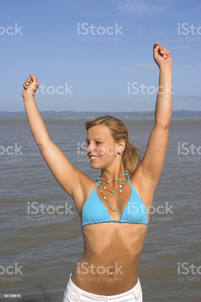 Sexy girl blue bikini royalty-free stock photo