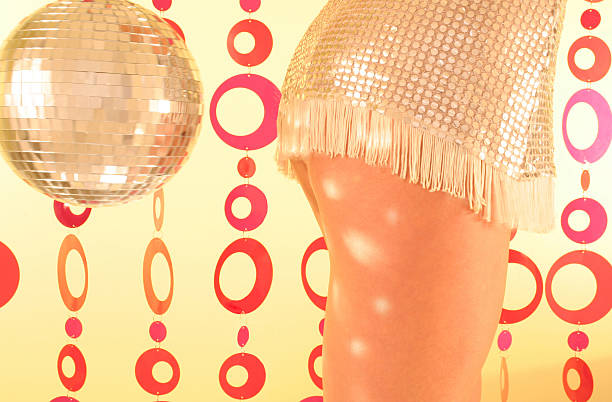 Sexy Girl Dancing With a Disco Ball stock photo