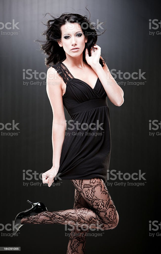 sexy girl flirting and  looking at the camera stock photo