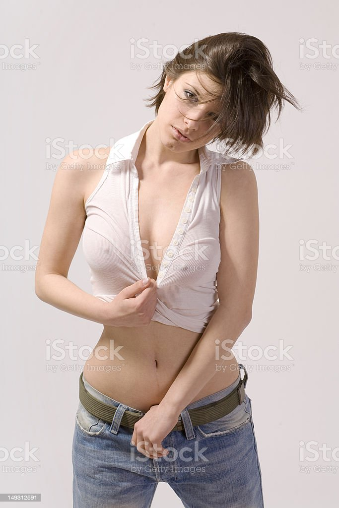 Sexy Girl In Blue Jeans And White Shirt Royalty Free Stock Photo