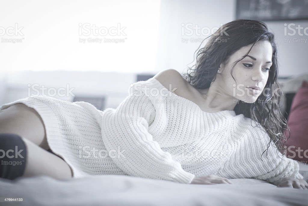 sexy girl in her bedroom stock photo
