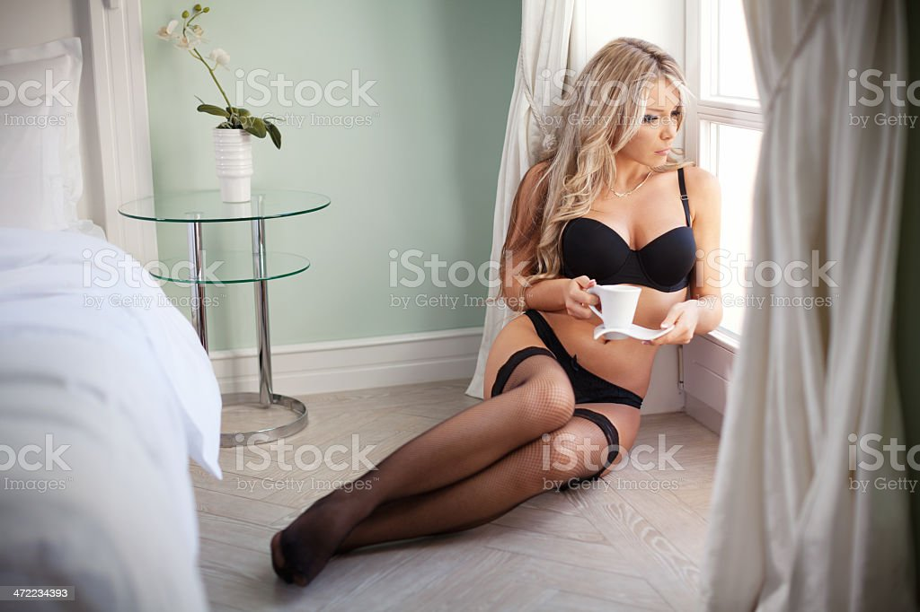 197dc9ec658 Sexy Girl In Underwear And Socks Holding Cup Of Coffee Stock Photo ...