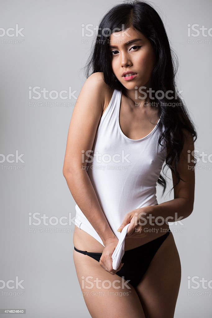 Sexy girl in whit shirt​​​ foto
