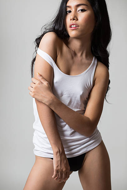 Sexy girl in whit shirt stock photo