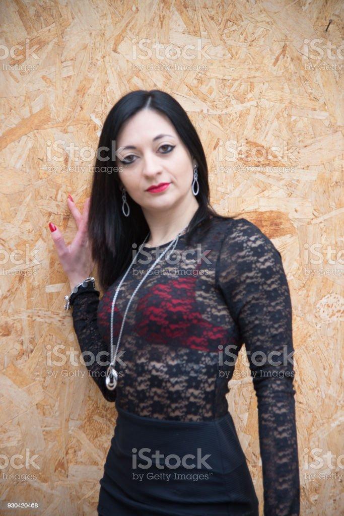 sexy girl transparent black vest  in red bra stock photo