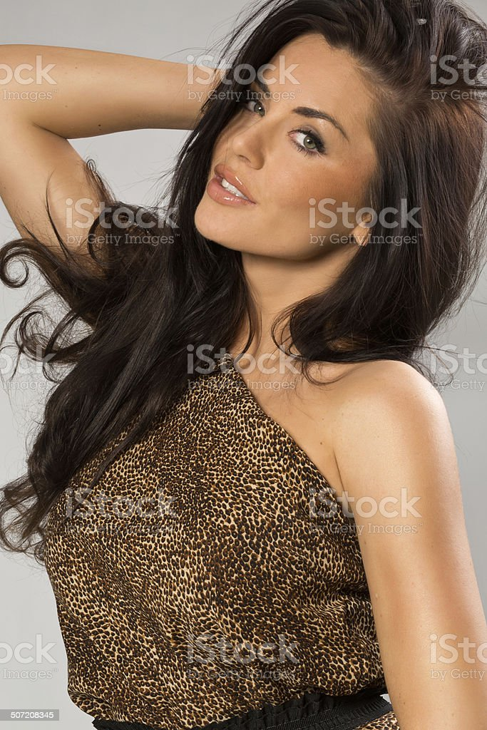 Sexy girl wearing leopard fur royalty-free stock photo