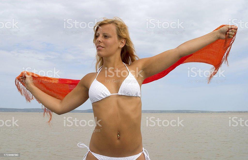 Sexy girl white bikini royalty-free stock photo