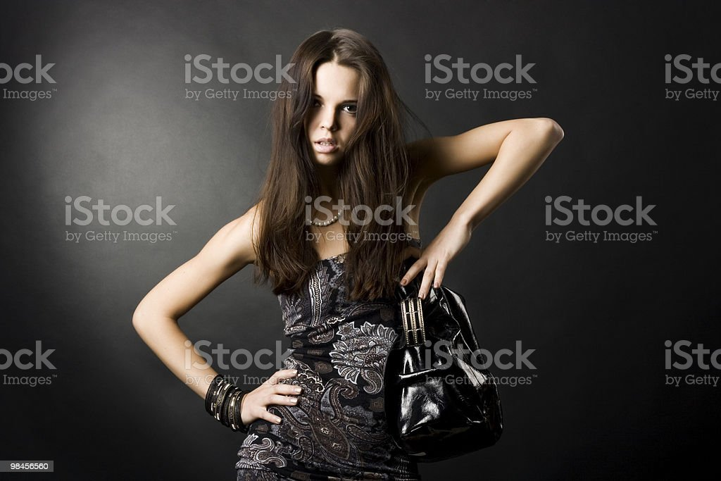 sexy girl with a bag royalty-free stock photo