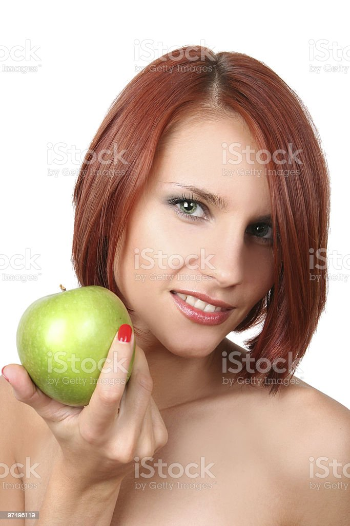 sexy girl with apple royalty-free stock photo