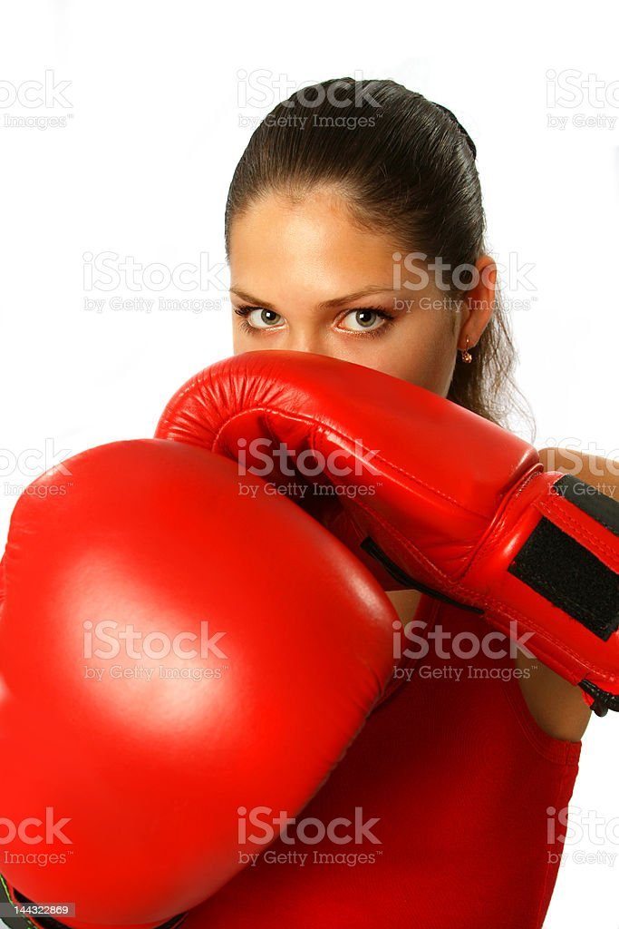 Sexy girl with boxing gloves royalty-free stock photo