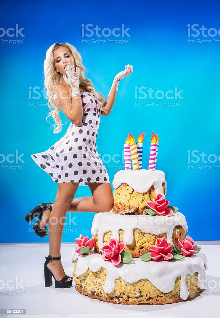 Sensational Sexy Girl With Cake Stock Photo Download Image Now Istock Funny Birthday Cards Online Sheoxdamsfinfo
