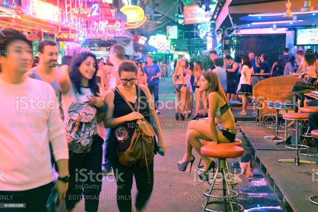 Sexy girls on Soi Cowboy strip, Bangkok, Thailand stock photo
