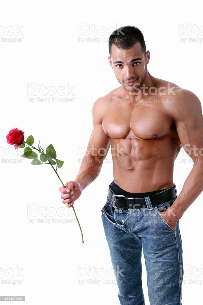 Sexy guy with rose royalty-free stock photo