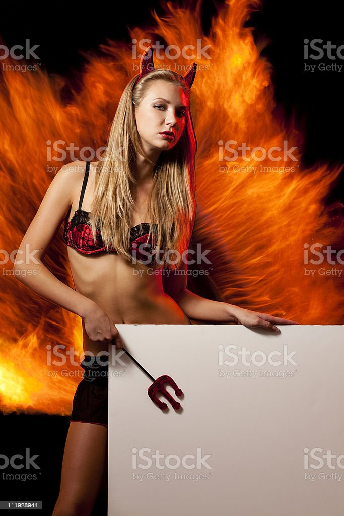 Sexy halloween devil girl witch royalty-free stock photo