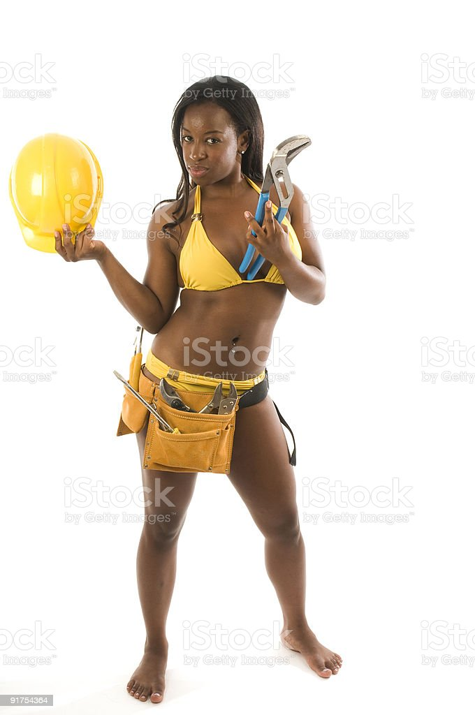 sexy hispanic construction woman with tools in bikini royalty-free stock photo