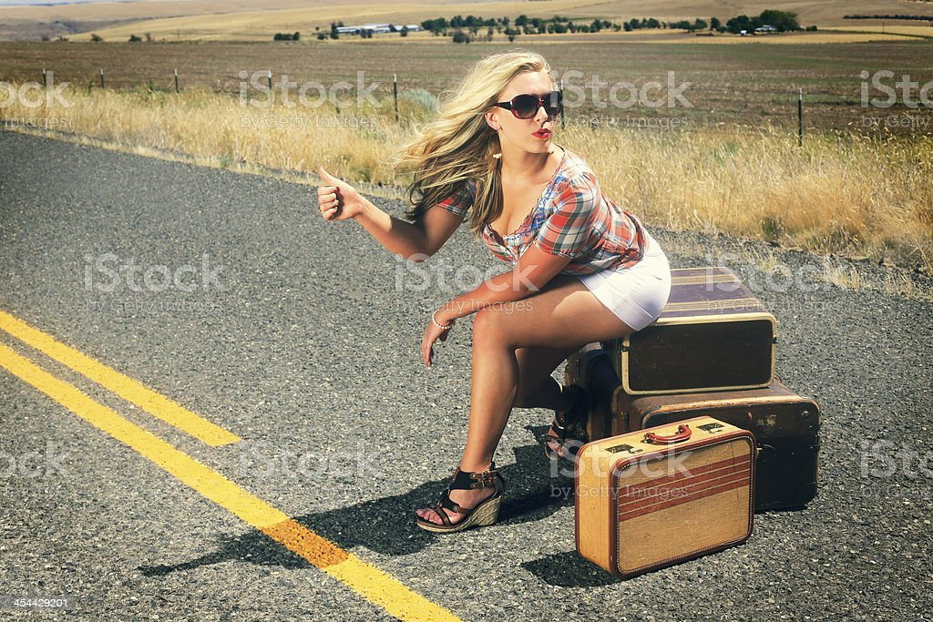 Sexy Hitch Hiker royalty-free stock photo