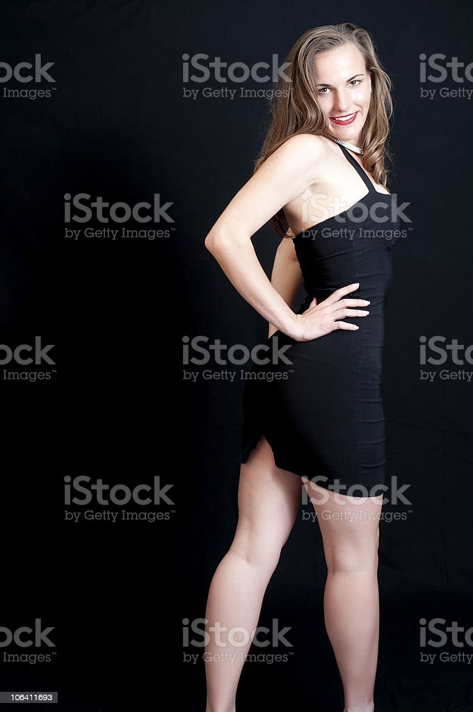 Sexy in Black Dress stock photo