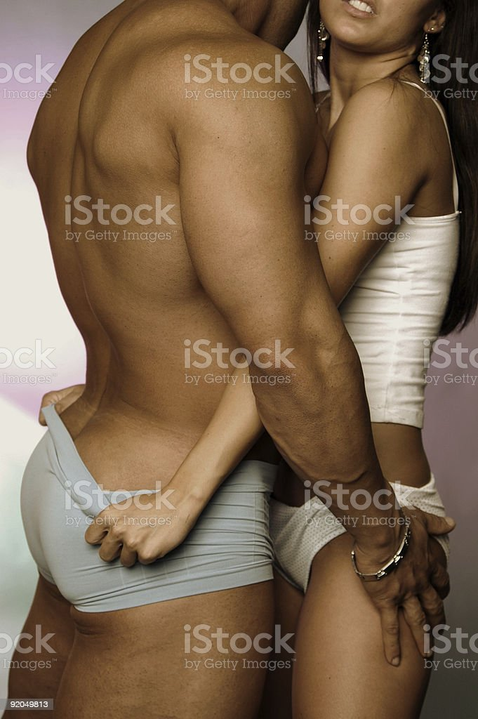 Sexy, intimate picture of a couple in their underwear stock photo