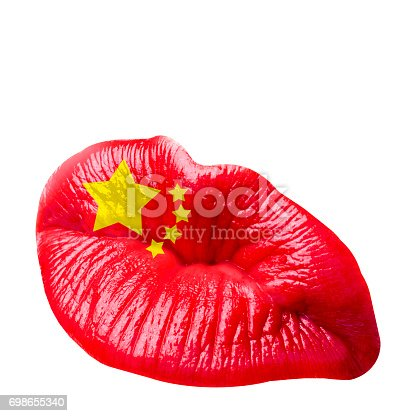istock Sexy kissing Chinese woman lips with red lipstick isolated against the white background. Icon with text and vintage frame for greeting card design. Beautiful close up kiss photograph. 698655340