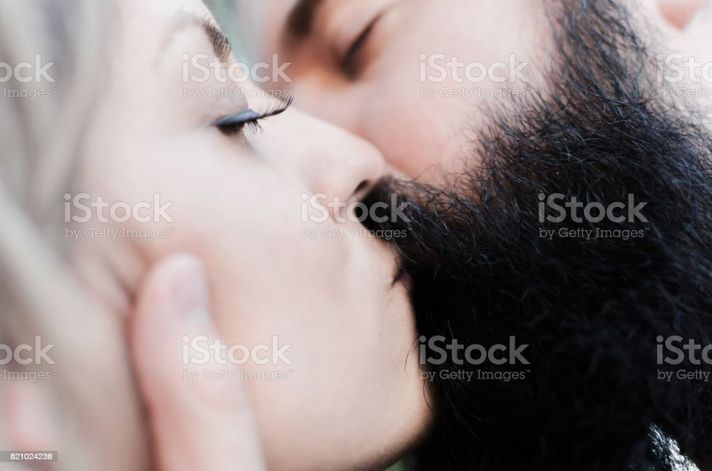 sexy kissing of ovely couple stock photo