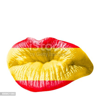 856575766istockphoto Sexy kissing woman lips with red lipstick isolated against the white background. Icon with text and vintage frame for greeting card design. Beautiful close up kiss photograph. 699801580