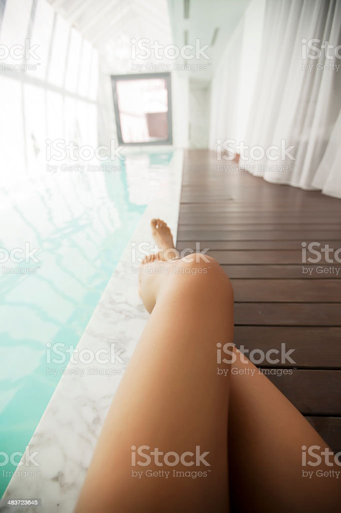 Sexy Legs by Poolside royalty-free stock photo