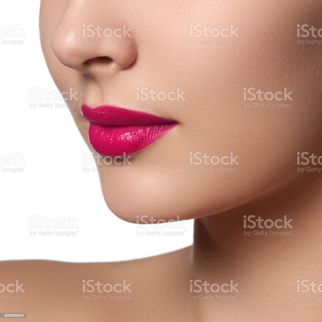 Sexy Lips Beauty Pink Lips Makeup Detail Beautiful Makeup