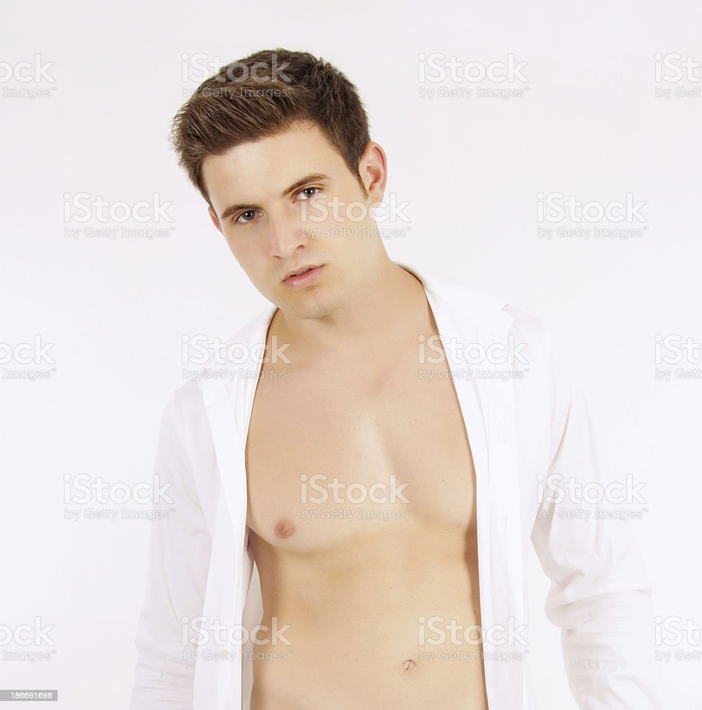 Sexy male in front of white background royalty-free stock photo