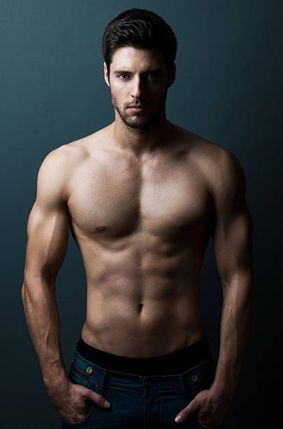 sexy male model portrait of a shirtless male model posing shirtless male models stock pictures, royalty-free photos & images