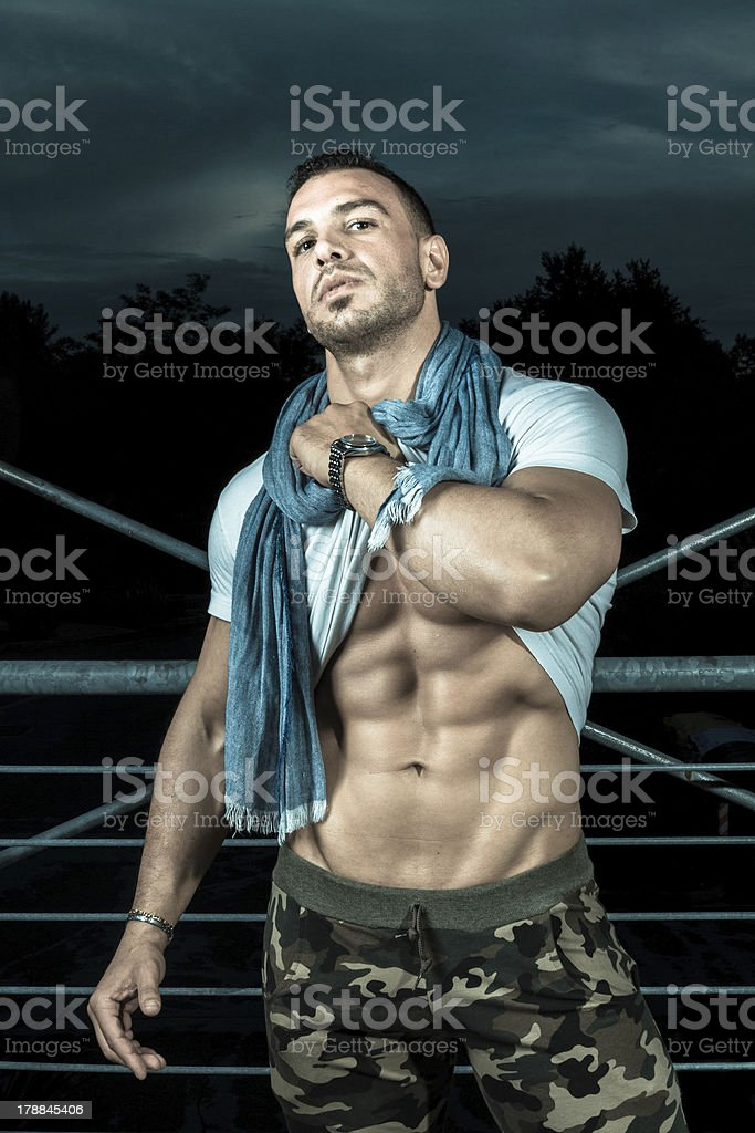 sexy man in outdoor portrait royalty-free stock photo