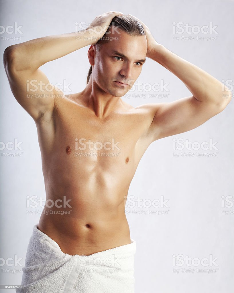 Sexy Man In Towel After A Shower Royalty Free Stock Photo