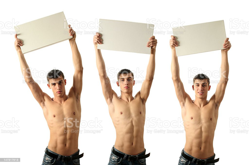 Sexy Man Showing a Copy Space Blank Billboard royalty-free stock photo