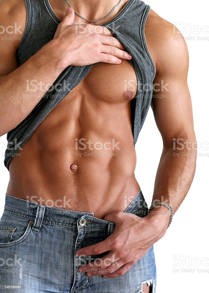Sexy Man Showing His Six-Packs Isolated on White stock photo