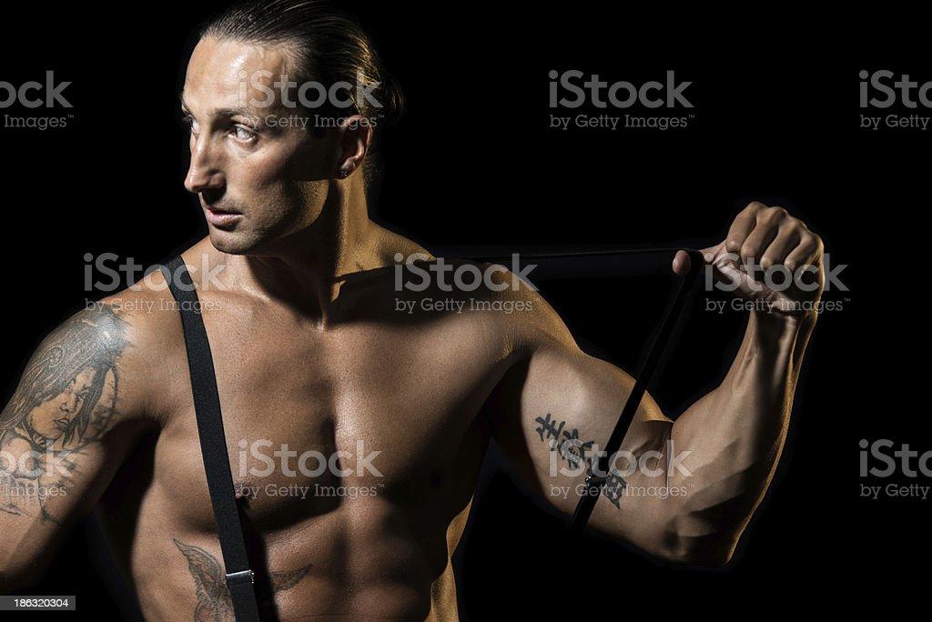 Sexy Homme Nu Avec Bretelles Noir Sur La Poitrine Photos Et Plus D