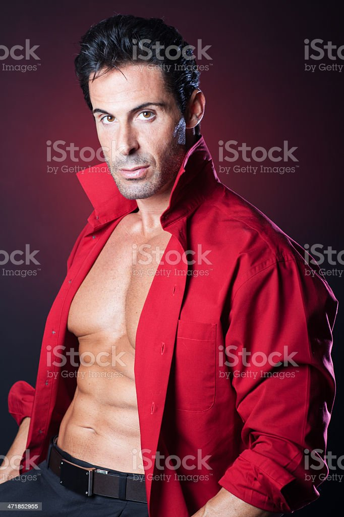 Sexy man with six pack stock photo