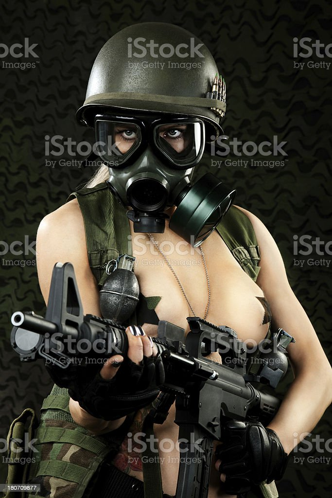 Sexy Military Woman with Gas Mask stock photo