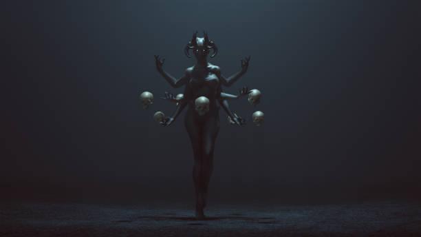 sexy femme diable de multi-armed avec des crânes flottants dans un vide brumeux - vampire femme photos et images de collection