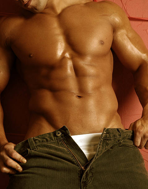 sexy  muscle male figure stock photo