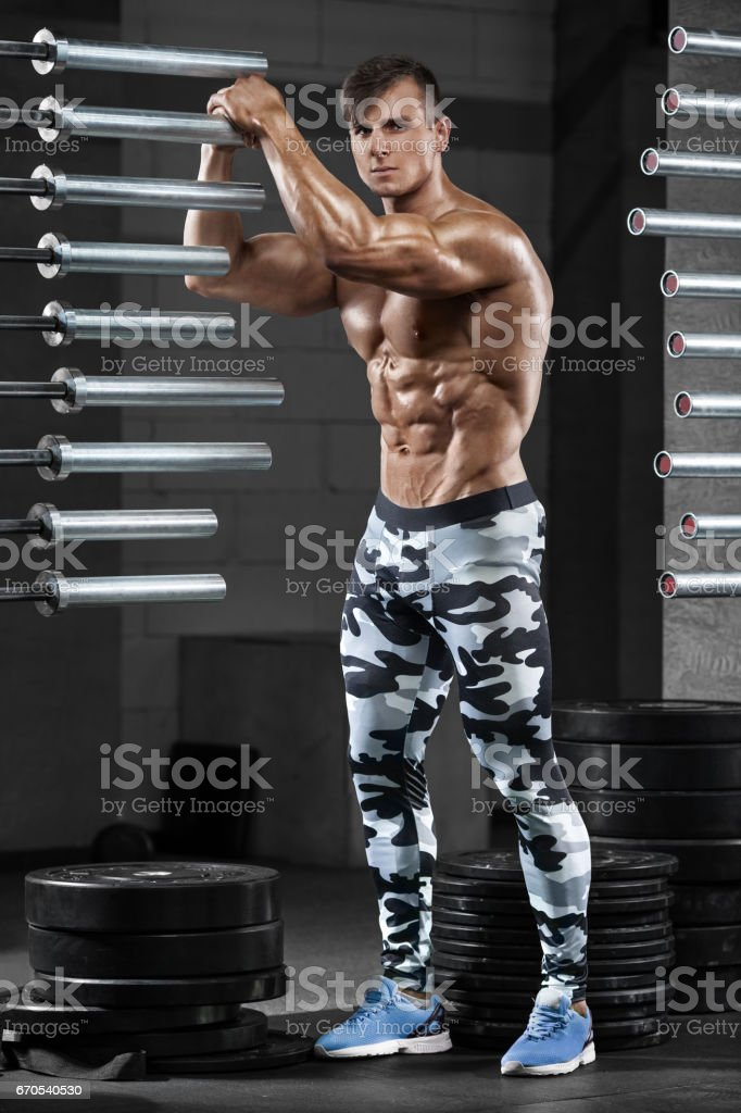 Sexy Muscular Man In Gym Shaped Abdominal Strong Male Naked Torso Abs Working Out -6735