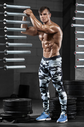 Muscular Man In Gym, Shaped Abdominal, Showing Muscles