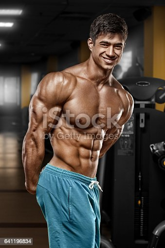 Sexy Muscular Man In Gym Strong Male Naked Torso Abs Stock -1398