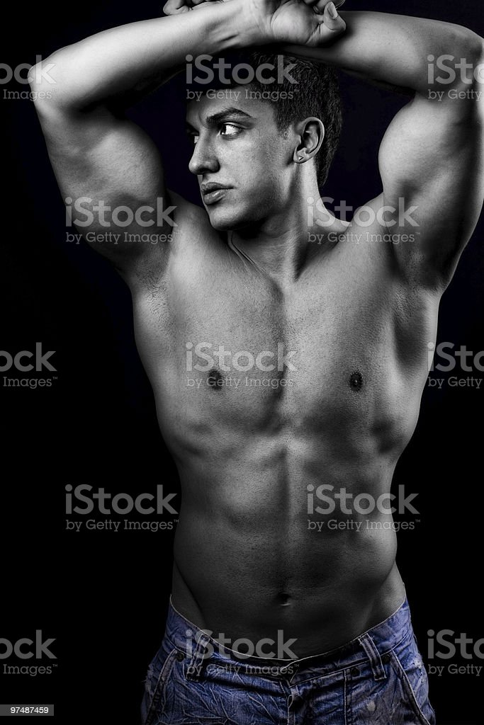 Sexy muscular man with healthy body royalty-free stock photo