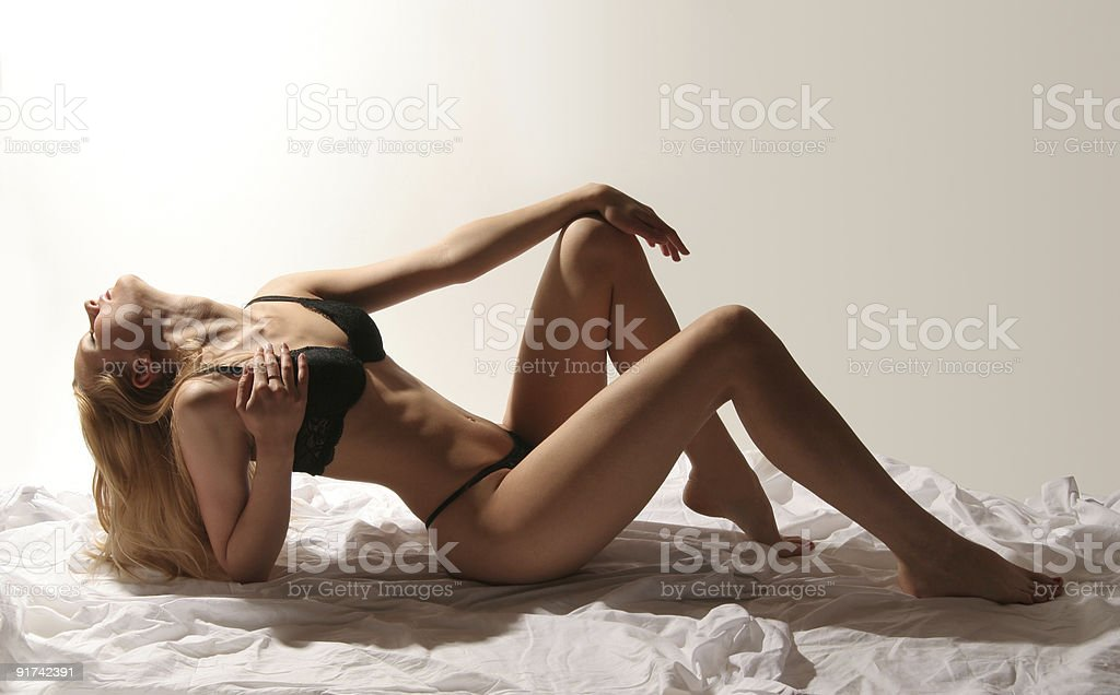 sexy naked woman on grey background stock photo