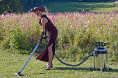 sexy woman cleaning green natural carpet in front of cosmos field